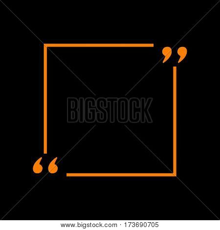 Text quote sign. Orange icon on black background. Old phosphor monitor. CRT.