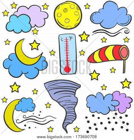 Vector art of weather set doodles collection stock