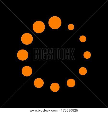 Circular loading sign. Orange icon on black background. Old phosphor monitor. CRT.