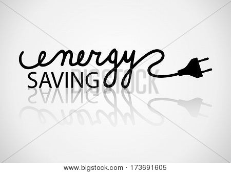 Typography of energy saving on light background