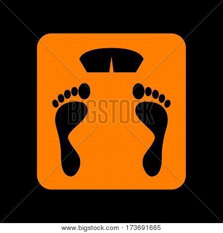 Bathroom scale sign. Orange icon on black background. Old phosphor monitor. CRT.