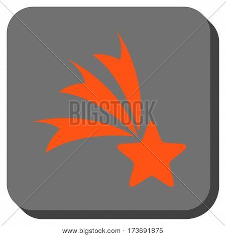Falling Star rounded button. Vector pictograph style is a flat symbol centered in a rounded square button orange and gray colors.