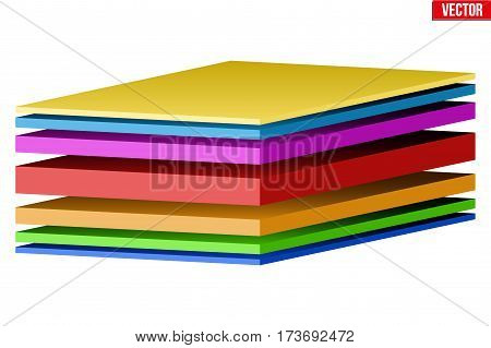 Technical illustration of a sandwich multilayer fabric. Demonstration of the structure of the material. Vector Illustration isolated on white background