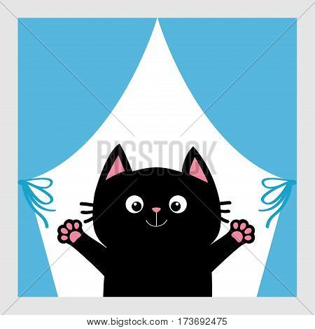 Black cat in the window. Curtain with bow. Open hand paw print. Kitty reaching for a hug. Funny Kawaii animal. Baby card. Cute cartoon character. Pet collection. Flat White background Isolated. Vector