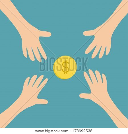 Four Hands arms reaching to cash gold coin money dollar sign symbol. Taking hand. Close up body part. Business card. Flat design. Wealth concept. Blue background. Isolated. Vector illustration