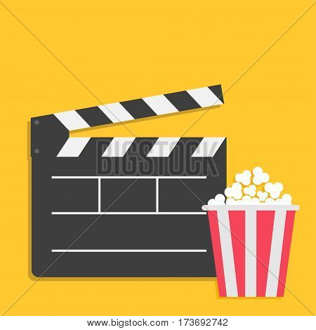 Big open clapper board Popcorn Cinema red white lined box icon set. Flat design style. Yellow background. Vector illustration