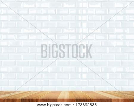 Empty Wood Table And Ceramic Tile Brick Wall In Background,mock Up For Display Of Product