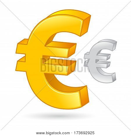 Vector stock of a golden and silver euro money currency symbol