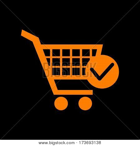 Shopping Cart with Check Mark sign. Orange icon on black background. Old phosphor monitor. CRT.