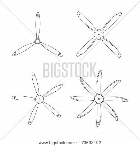 Set of aircraft screw in outline style. Airplane propellers on white background. Vector illustration