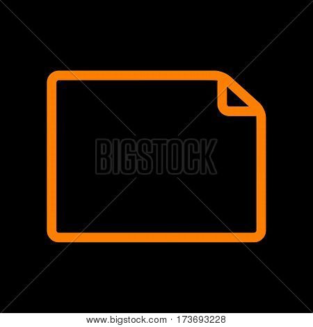 Horisontal document sign illustration. Orange icon on black background. Old phosphor monitor. CRT.