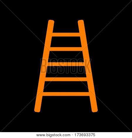 Ladder sign illustration. Orange icon on black background. Old phosphor monitor. CRT.
