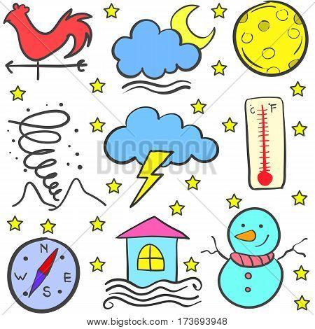 Weather item stock of doodles vector art