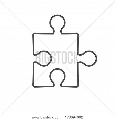simple puzzle contour icon isolated on white background. Stock vector illustration