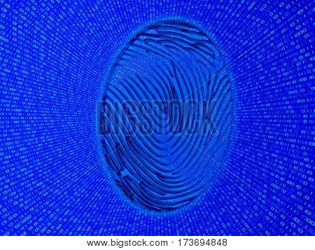 Cybersecurity. Fingerprint on a background of zeros and ones. 3d illustration