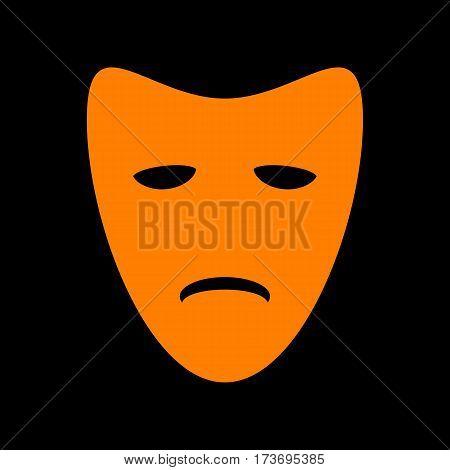 Tragedy theatrical masks. Orange icon on black background. Old phosphor monitor. CRT.