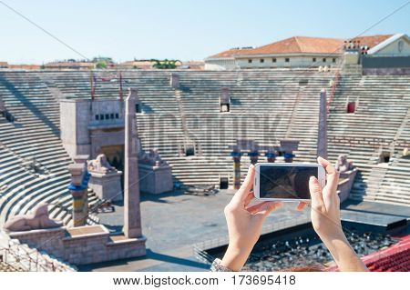 Partial view of the external perimeter of the Verona Arena Italy