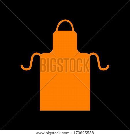 Apron simple sign. Orange icon on black background. Old phosphor monitor. CRT.