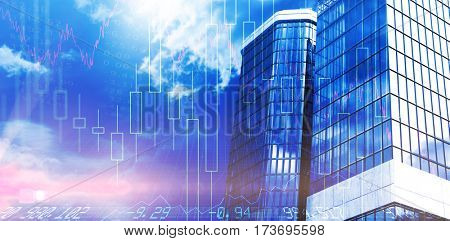 Low angle view of bank building against view of blue sky and cloud