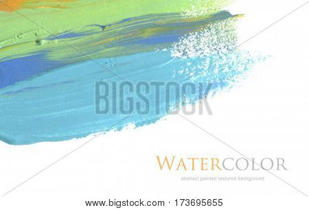 Abstract acrylic and watercolor brush stroke painted background. Isolated. Business card template.