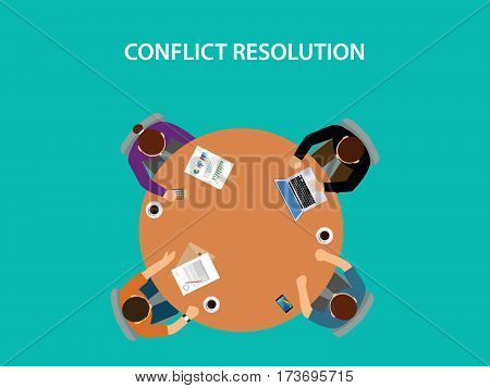 conflict resolution illustration with four people discuss on table with paperworks on top of table vector