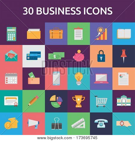 Business Icons Set | Set of great flat icons with style flat design and use for Business, Finance, Marketing and much more.