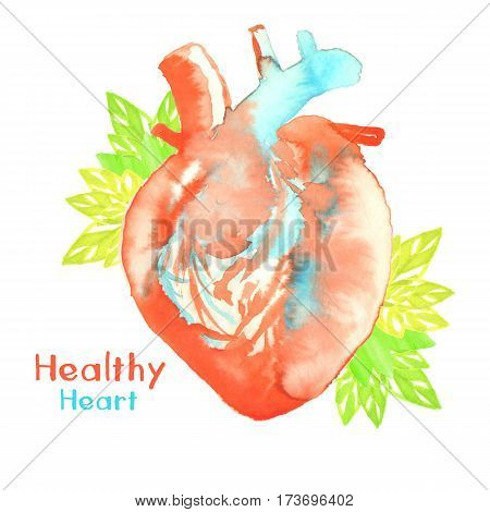 watercolor healthy heart with green leaves and sign