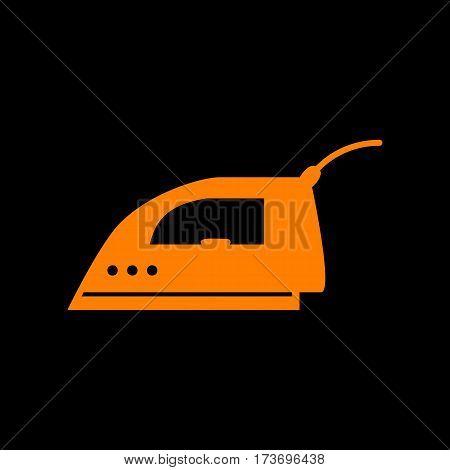Smoothing Iron sign. Orange icon on black background. Old phosphor monitor. CRT.
