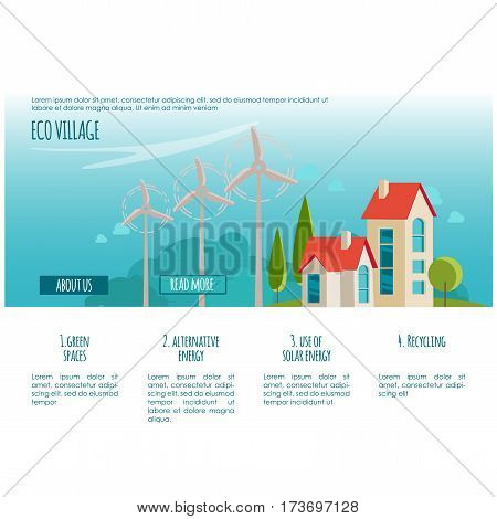 Web page concept. Eco urban landscape. Alternative energy. For your design