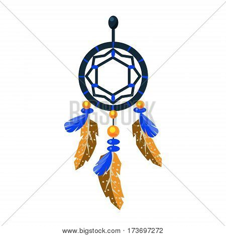 Decorated Dreamcatcher Charm, Native American Indian Culture Symbol, Ethnic Object From North America Isolated Icon. Tribal Decorative Element Of Indian Tribe Life Vector Cartoon Illustration.