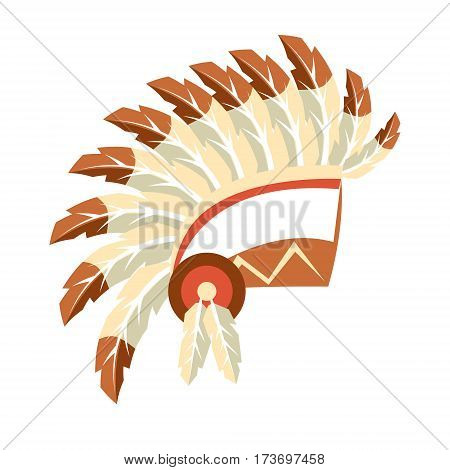 Chief War Bonnet Headdress, Native American Indian Culture Symbol, Ethnic Object From North America Isolated Icon. Tribal Decorative Element Of Indian Tribe Life Vector Cartoon Illustration.