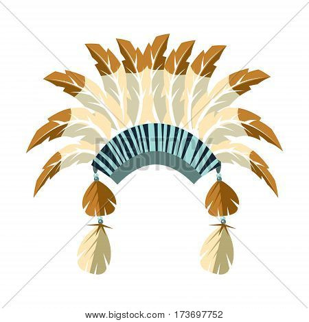 Chiefs War Bonnet With Feathers, Native American Indian Culture Symbol, Ethnic Object From North America Isolated Icon. Tribal Decorative Element Of Indian Tribe Life Vector Cartoon Illustration.