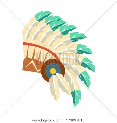 Leader War Bonnet With Feathers, Native American Indian Culture Symbol, Ethnic Object From North America Isolated Icon. Tribal Decorative Element Of Indian Tribe Life Vector Cartoon Illustration.