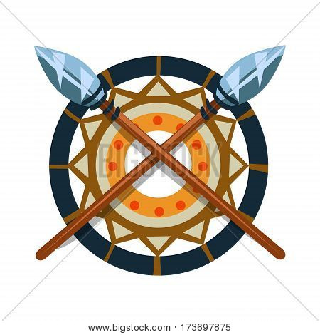 Decorative Item With Crossed Spears, Native American Indian Culture Symbol, Ethnic Object From North America Isolated Icon. Tribal Decorative Element Of Indian Tribe Life Vector Cartoon Illustration.
