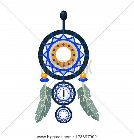 Dreamcathcer Carft Decorative Item, Native American Indian Culture Symbol, Ethnic Object From North America Isolated Icon. Tribal Decorative Element Of Indian Tribe Life Vector Cartoon Illustration.