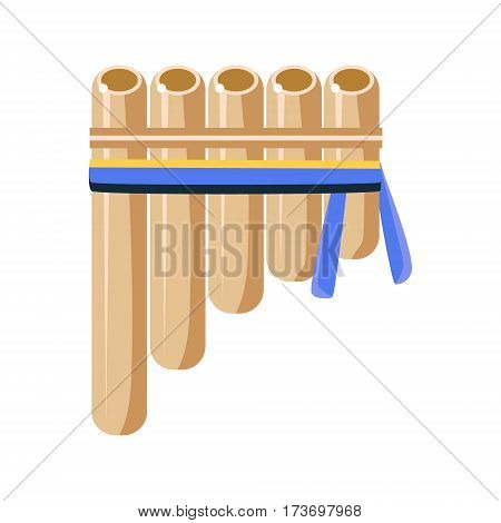 Panpipes Flute Musical Instrument, Native American Indian Culture Symbol, Ethnic Object From North America Isolated Icon. Tribal Decorative Element Of Indian Tribe Life Vector Cartoon Illustration.