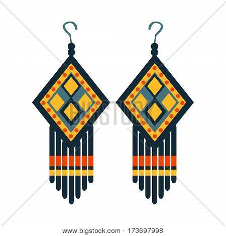 Jewelry Earrings For Woman, Native American Indian Culture Symbol, Ethnic Object From North America Isolated Icon. Tribal Decorative Element Of Indian Tribe Life Vector Cartoon Illustration.