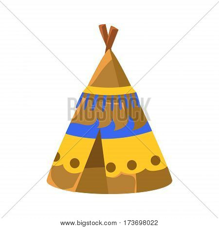 Decorated Wigwam Hut, Native American Indian Culture Symbol, Ethnic Object From North America Isolated Icon. Tribal Decorative Element Of Indian Tribe Life Vector Cartoon Illustration.