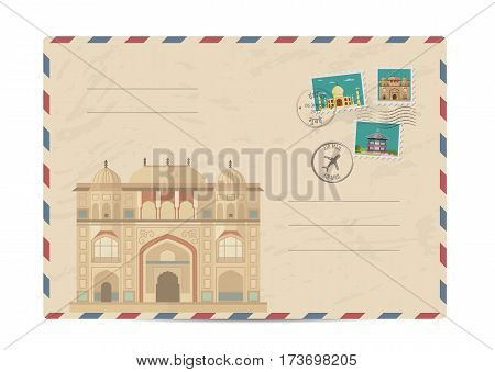 Itmad-ud-Daula, Baby Taj, Agra India. Postal envelope with famous architectural composition, postage stamps and postmarks on white background vector illustration. Postal services. Envelope delivery.