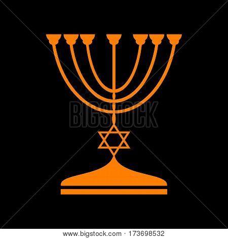Jewish Menorah candlestick in black silhouette. Orange icon on black background. Old phosphor monitor. CRT.