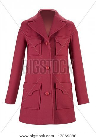 red woolen coat