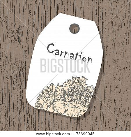Vector tag template with carnation flower in pastel colors on the wooden background. Vintage eco design for label, greeting card, invitation, gift decoration, sale design, scrapbooking