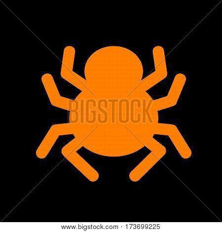 Spider sign illustration. Orange icon on black background. Old phosphor monitor. CRT.