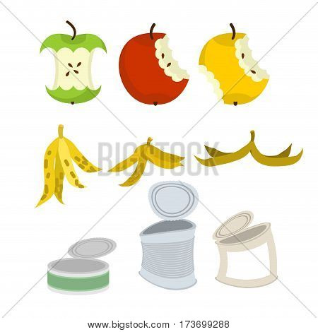 Rubbish Set. Garbage Collection. Apple Core And Peel Of Banana. Tin