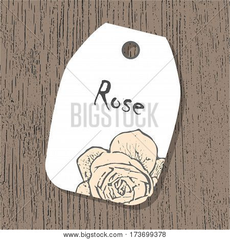 Vector tag template with rose flower in pastel colors on the wooden background. Vintage eco design for label, greeting card, invitation, gift decoration, sale design, scrapbooking.