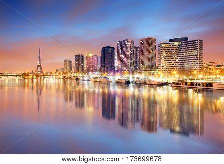 Paris skyline with Eiffel tower in background