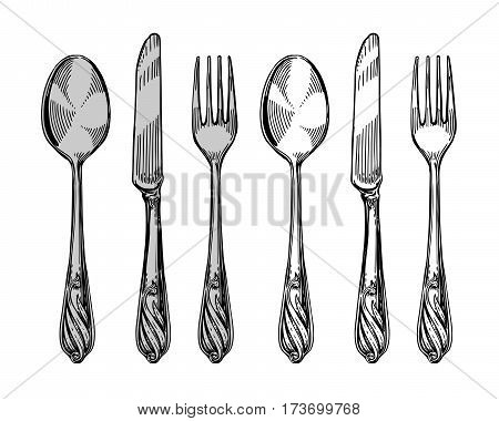 Hand-drawn tableware, view top. Silver cutlery such as knife, spoon, fork. Sketch vector illustration isolated on white background
