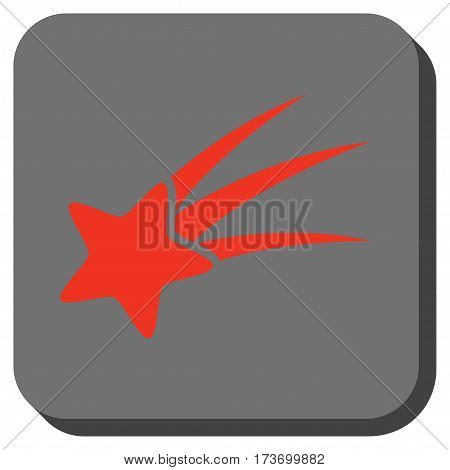 Falling Star square button. Vector pictograph style is a flat symbol centered in a rounded square button, red and black colors.