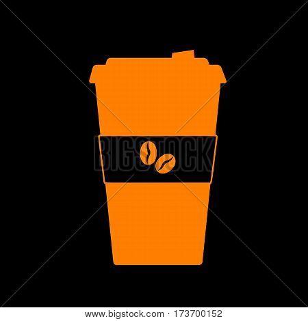 TV microphone sign illustration. Orange icon on black background. Old phosphor monitor. CRT.