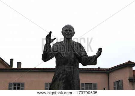 Lyon, France - December 20, 2016: Monument to Pope Saint John Paul II. architecture Basilica of Notre-Dame de Fourviere is located on hill of Fourviere in December 20 in Lyon, France